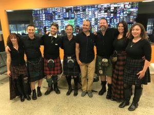 The American Rogues Celtic Band in the ECG studio after filming the concert for Sounds of Canada