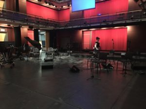 The Living Arts Centre. Mississauga. Setting up for Arabic Sounds of Canada filming