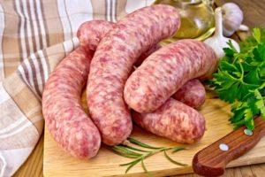 Sausages+pork+on+board